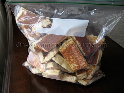 A bag of cut up pancakes.