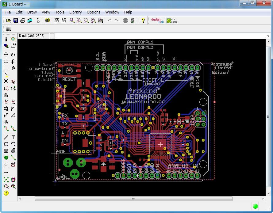 基板設計イメージ:Arduino Leonardo case