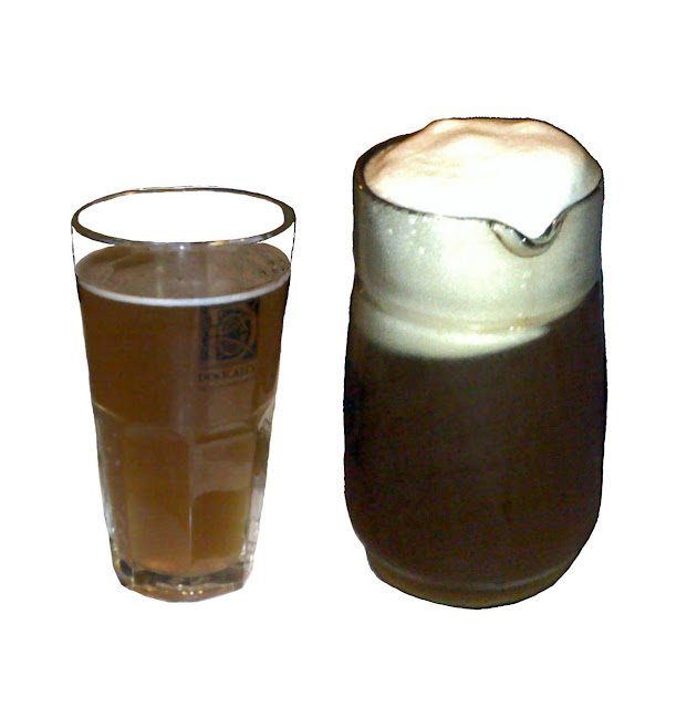 jug of beer on white background