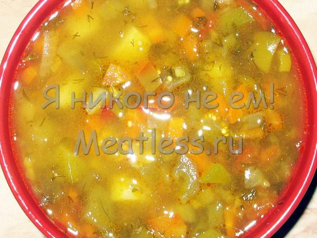 Суп гороховый с баклажанами