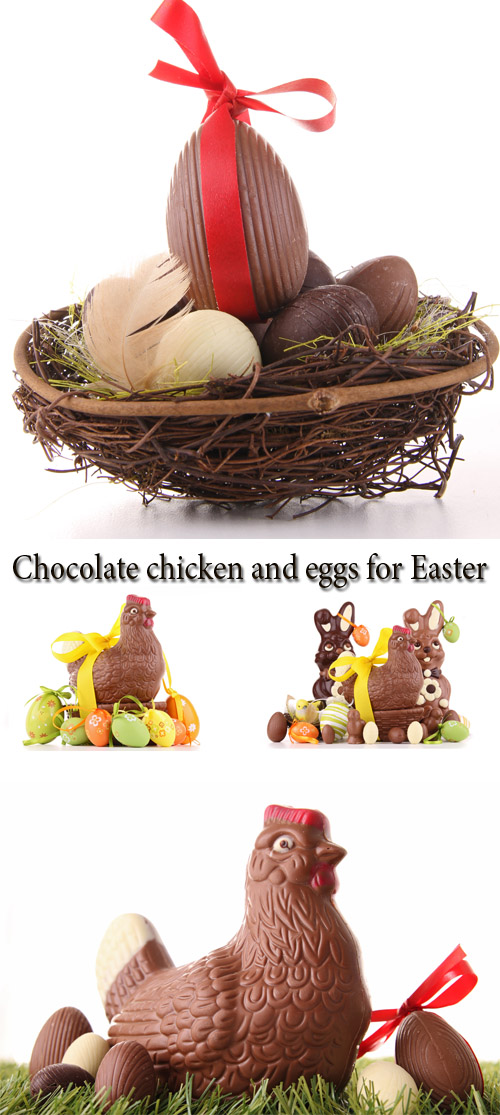 Stock Photo: Chocolate chicken and eggs for Easter
