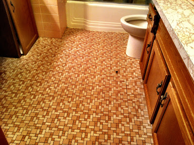 bathroom,floor,missing,tile,tub,brown,counter