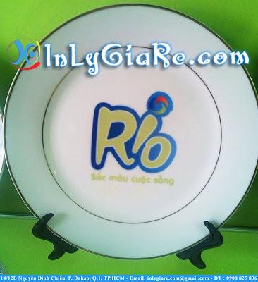 In Hình-Logo Lên Đĩa Sứ Viền Vàng 21cm