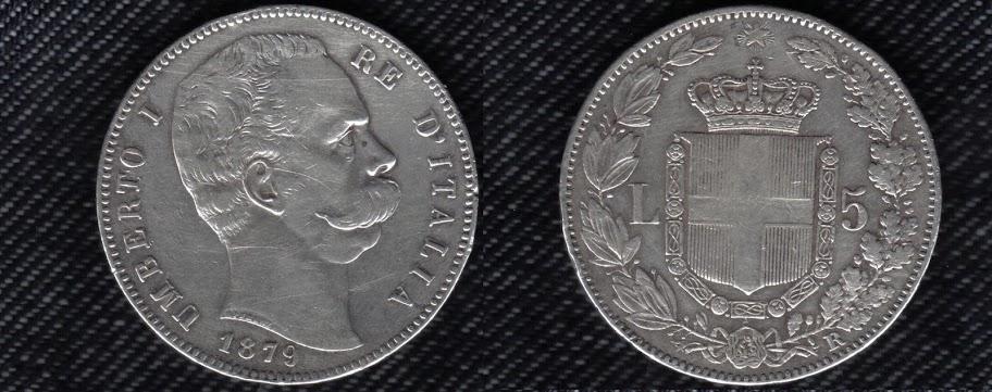 Mi colección de monedas italianas. 5%20liras%201879