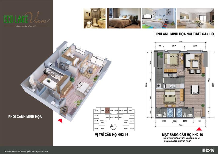 Mặt bằng căn hộ HH2-16 chung cư 32 Đại Từ