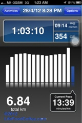 Runkeeper showing my pace, Energizer Night Trail 2012