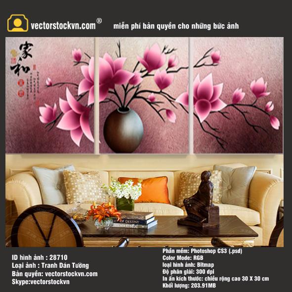 Tranh Bình Hoa Trang trí phòng khách - Phòng Ngủ - Văn Phòng.