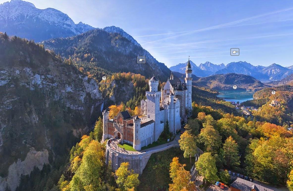 Замок Нойшванштайн, Германия • 360° Аэрофотопанорама