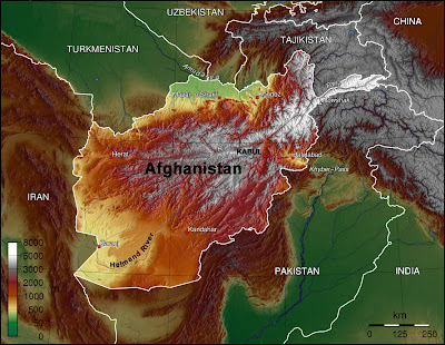 A topo map of Afghanistan and surrounding countries
