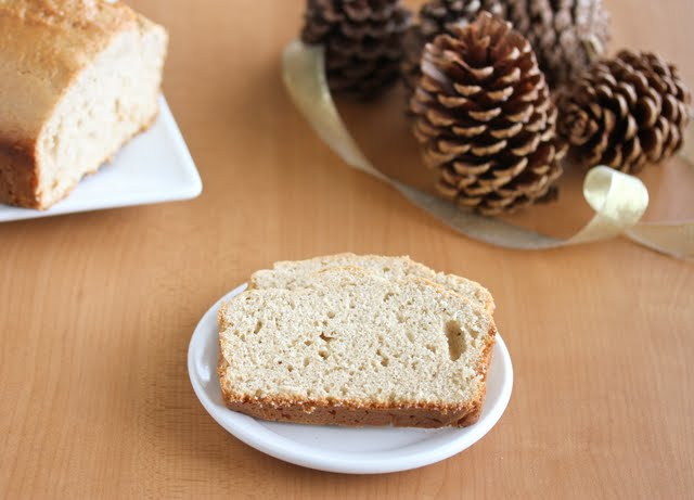 photo of a slice of eggnog bread on a plate
