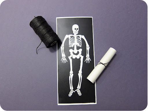 Print the skeleton chart, roll up, and tie with waxed twine.