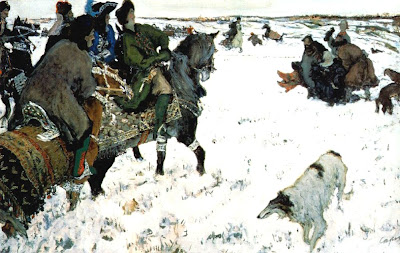Valentin Serov - Peter the Great riding to hounds