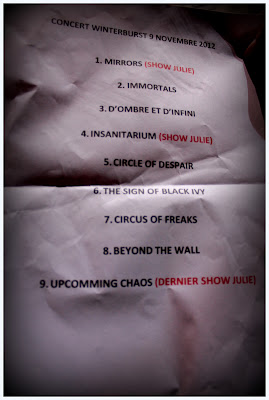 Winterburst : set-list @ Le Klub, Paris 09/11/2012
