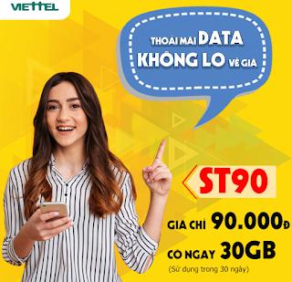 Có đến 30GB Data, Miễn phí xem Tiktok Gói ST90 Viettel