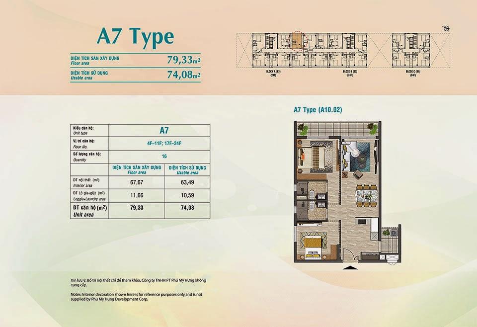 Căn hộ Scenic Valley Phú Mỹ Hưng, kiểu A7, 79.33m2 có thiết kế 2 phòng ngủ