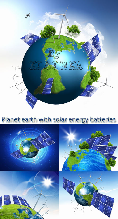 Stock Photo: Planet earth with solar energy batteries