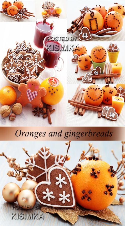 Stock Photo: Oranges and gingerbreads