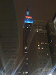 While waiting for a bus on 34th St, here's the coolly lit Empire State Building