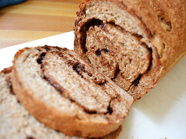sliced chocolate cinnamon swirl bread