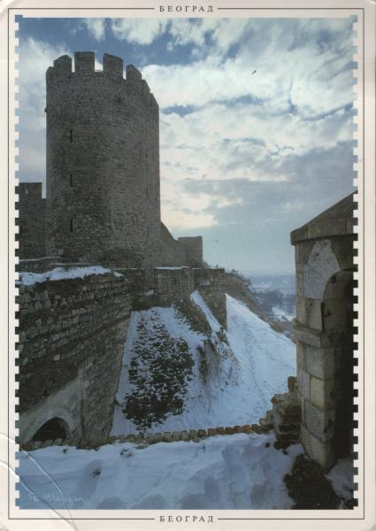 stone fortress in the snow