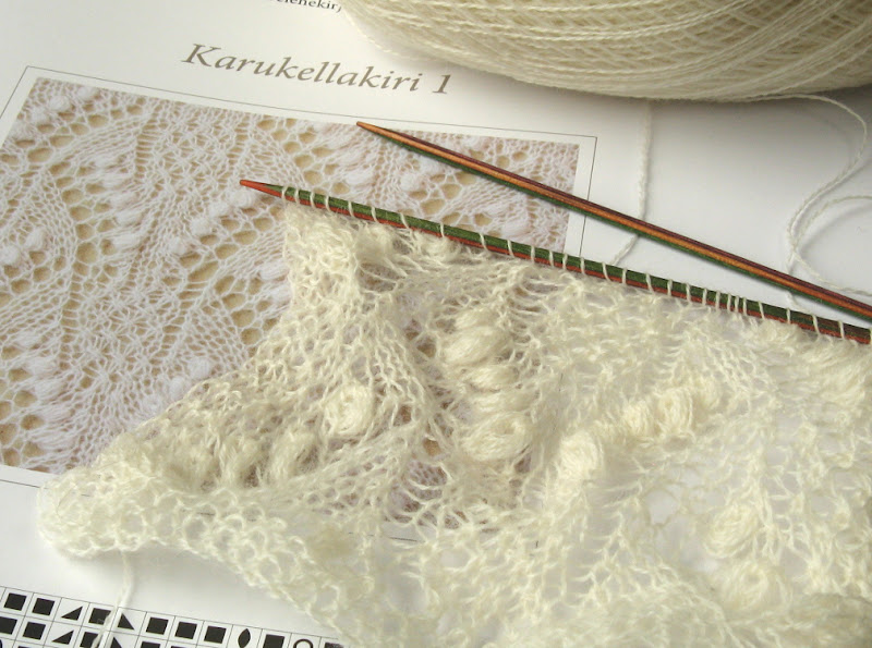 Lace knitting swatch