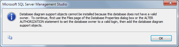 Database does not have a valid owner software development of the database properties dialog box or the alter authorization statement to set the database owner to a valid login then add the database diagram ccuart Choice Image