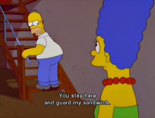 homer simpson stay here and guard my sandwich, guard my sandwich, simpsons funny captions, simpsons funny pictures, homer simpson funny pictures, the simpsons
