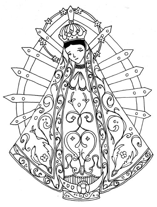 Virgen de Lujan para colorear