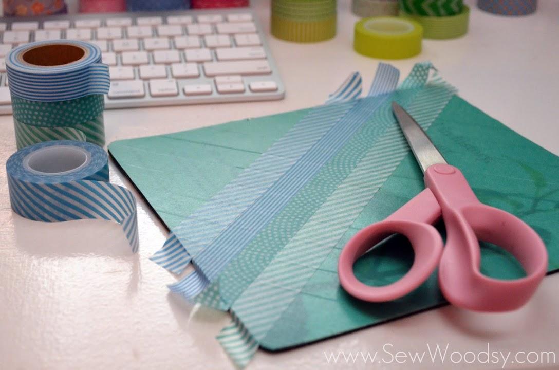 Washi Tape Mouse Pad via SewWoodsy.com #DIY #Crafts #WashiTape