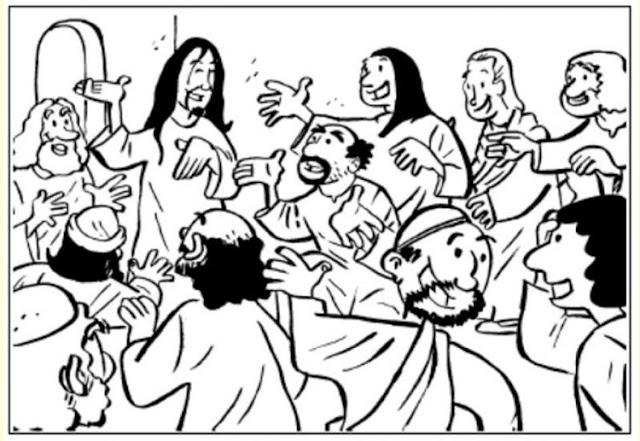 Cristo aparece a sus discípulos para colorear