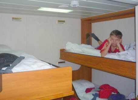Martin in der Vierer-Kabine D auf der Lisco Optima