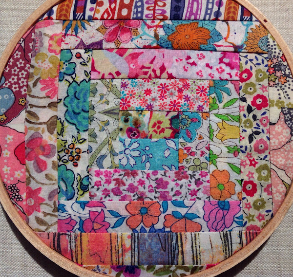 Liberty Log Cabin Hoop Art by Rhapsody and Thread