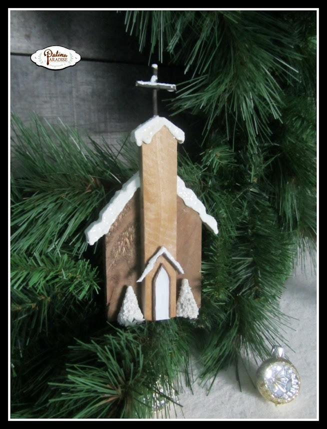 Rustic Pallet Wood Church Ornaments
