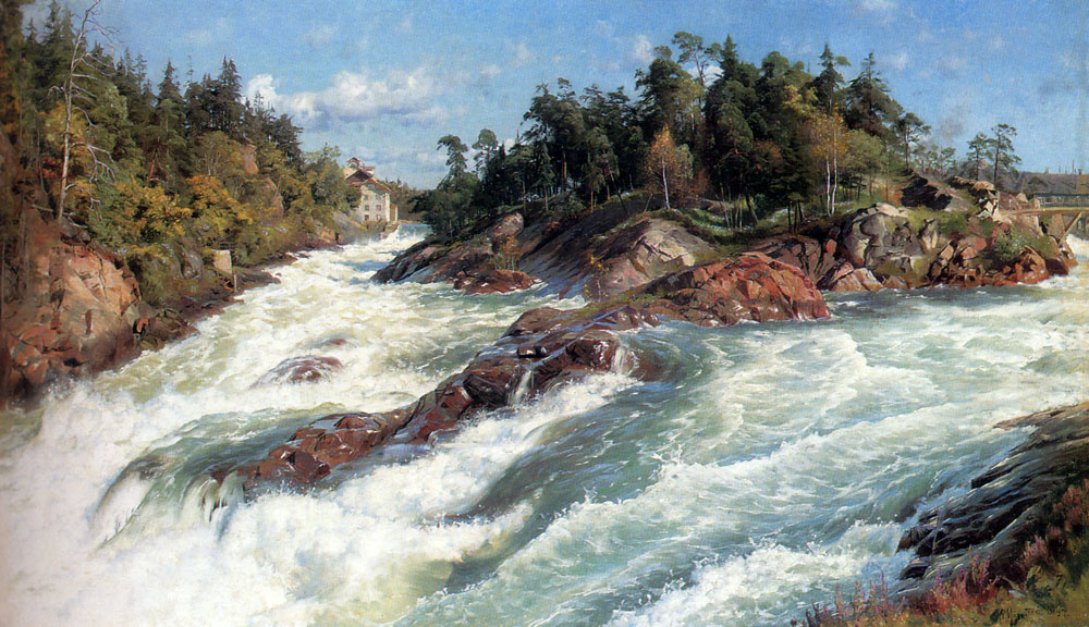 Peder Mork Monsted - The Raging Rapids,1897