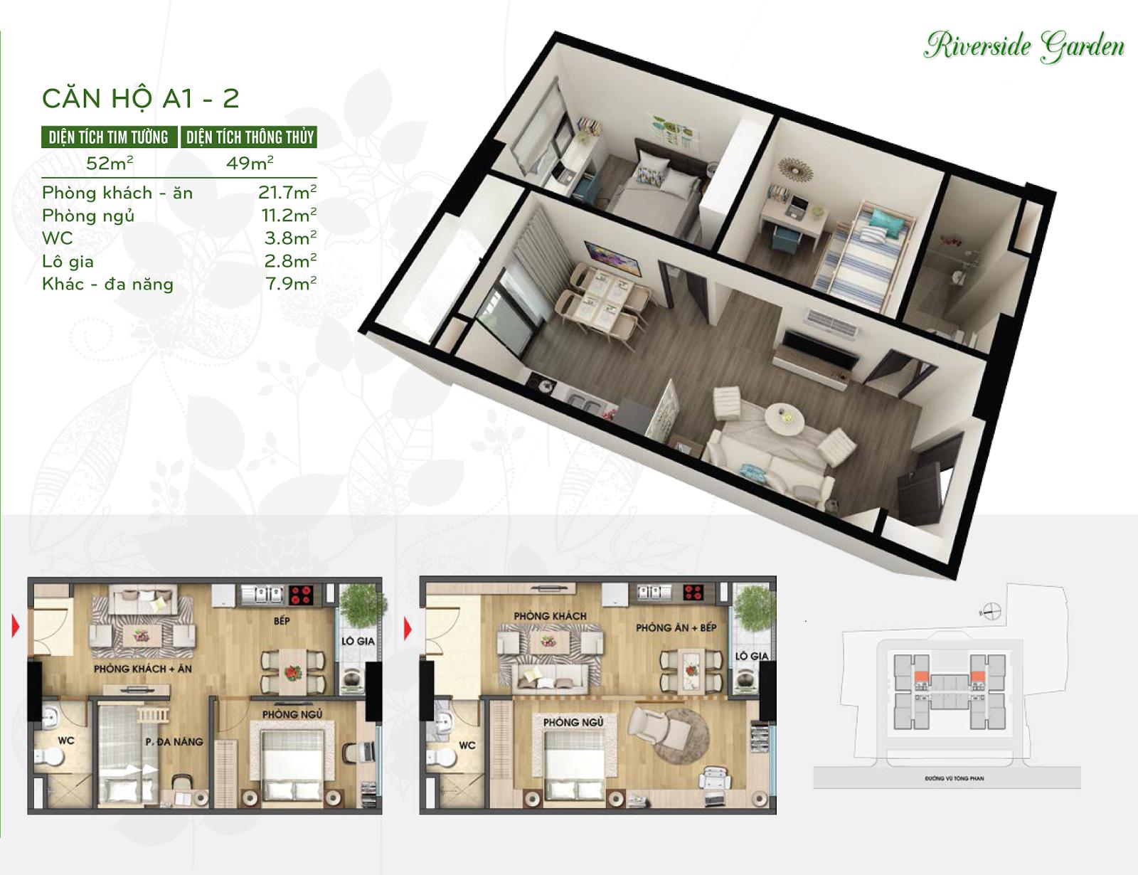 Thiết kế căn hộ 49m2 chung cư Riverside Garden
