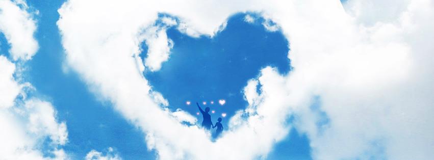 Ảnh bìa facebook trái tim hình thành từ đám mây trắng