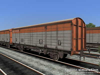 Fastline Simulation: Well worn VDA van for RailWorks in flame red and grey Railfreight livery.