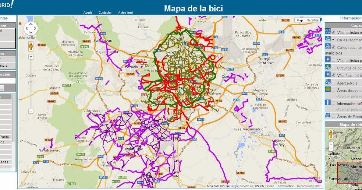 Mapa Carril Bici Gijon.Planos On Line Para Recorrer Madrid En Bici En Bici Por Madrid