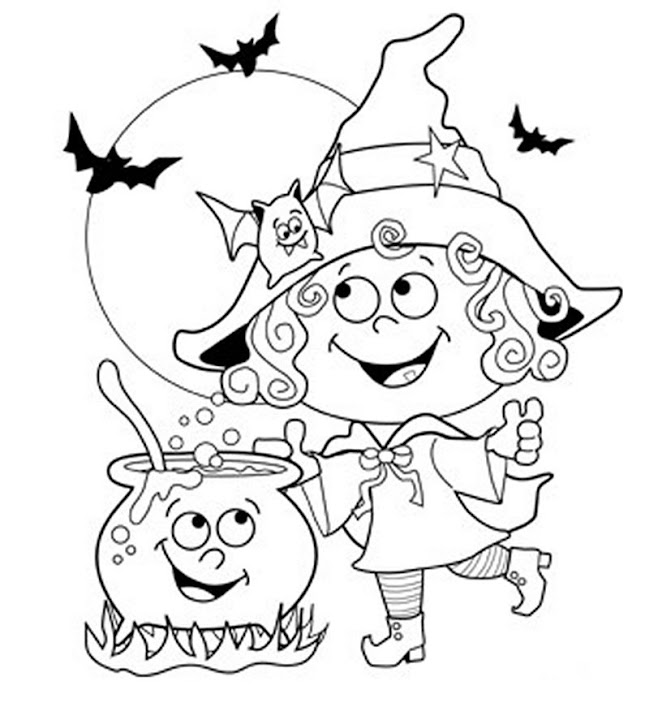 Free Halloween coloring pages - Halloween Friendly Witch Coloring Page