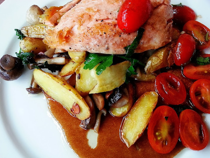 Seared Salmon with grape tomato and baked baby potatos