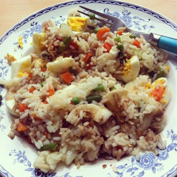 huevo duro arroz