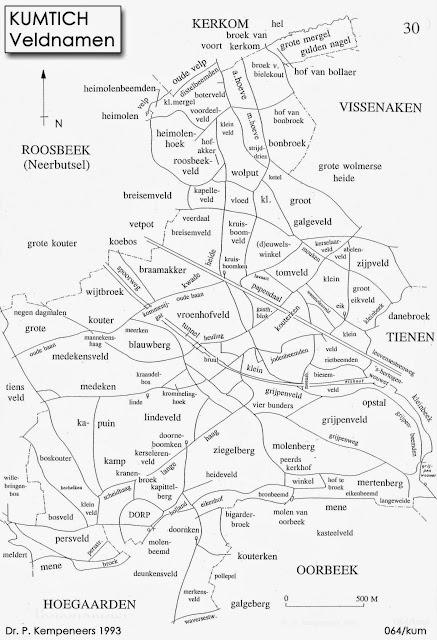 Figuur 23: De belangrijkste veldbenamingen in Kumtich.