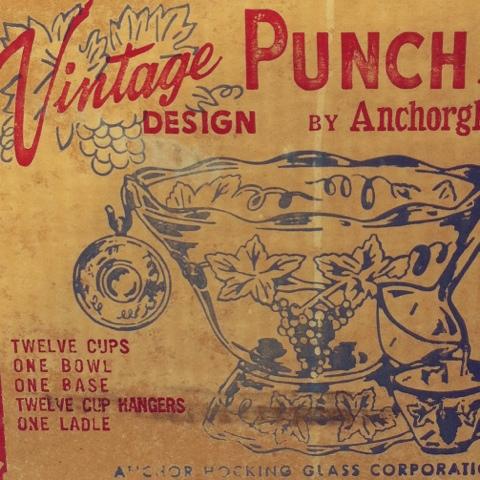 vintage punch bowl box