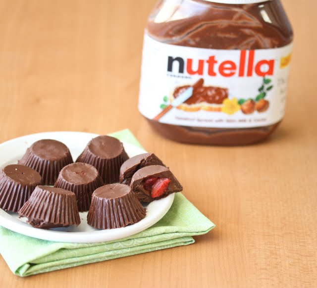 Strawberry Nutella Chocolate Cups