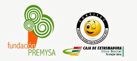 logotipos de la obra social premysa y programa sonrisas de la obra de caja extremadura
