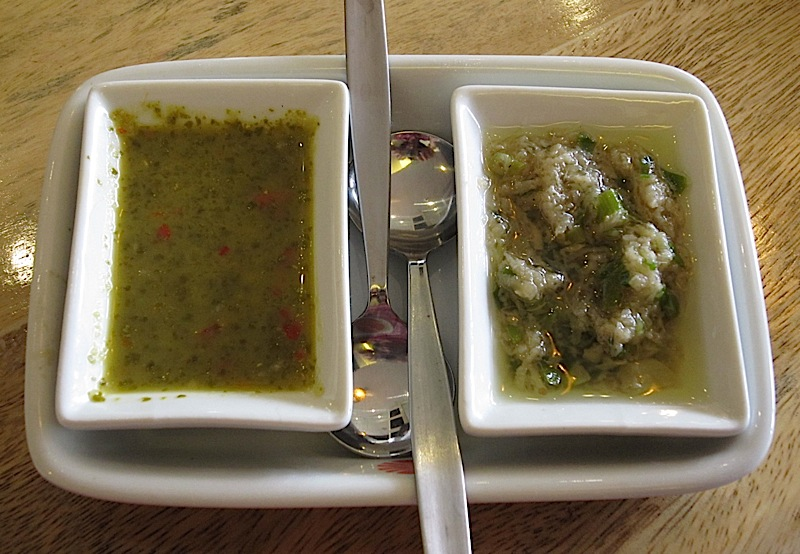 wansoy dipping sauce and ginger dipping sauce from Chef Sandy Daza's Wooden Spoon