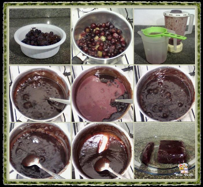 Doce de morango e uva em barra