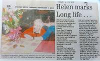 Helen Long, formally of Newton Road, Little Shelford, on her 100th birthday