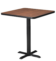 "Mayline - Bistro Bar-Height Table 36"" Square - Black Iron Base - HPL"