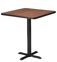 "Mayline - Bistro Bar-Height Table 36"" Square - Black Iron Base - HPL"